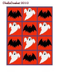INSTANT DOWNLOAD Chella Crochet Bats and Ghosts Halloween Afghan Crochet Pattern Graph Chart .PDF