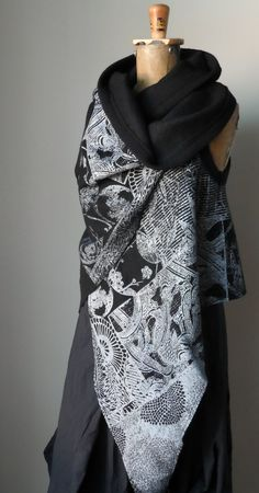 asymmetric wrap- deconstructed silk screen print on boiled wool