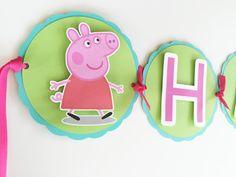 Cute Peppa Pig Birthday Banner par DianasDen sur Etsy