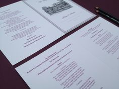 ORDER OF SERVICE: Couples who have a  traditional church ceremony find the Order of Service offers a great way to provide a quality printed content of the ceremony. With the sketch of the wedding reception on the front, friends and family often take these home as a little keepsake of the special day. Colour and style of font options available. Designed Exclusively for You!