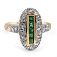 The Hetty Ring ~ This majestic ring features five regal French cut emeralds surrounded by glittering accent diamonds. A geometrically pierced gallery adds to the bold look of this glamorous piece (approx. 0.10 total carat weight).