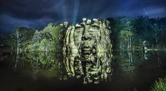 awesome Stunning Video Projections of Indians in the Amazonian Forest