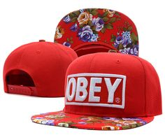 84deb382b2c OBEY Snapback Hats Flower Red 7376 Hats For Sale