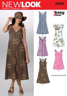 Misses Easy 2-Hour Pullover Dress New Look Sewing Pattern No. 6889. Size 8-18.