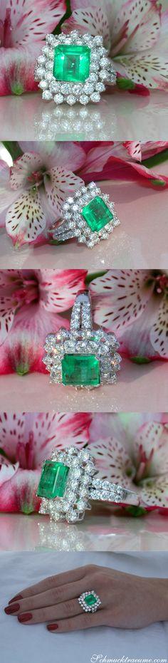 Luxury: Tremendous Emerald Ring with Diamonds - 6.63 ct. - Whitegold 18k | schmucktraeume.com | Facebook: https://www.facebook.com/Noble-Juwelen-150871984924926/