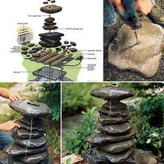 16 Inspirational DIY Garden Projects With Stone & Rocks Rock Fountain, Diy Fountain, Indoor Fountain, Fountain Design, Tabletop Fountain, Cool Art Projects, Diy Garden Projects, Diy Garden Fountains, Water Fountains
