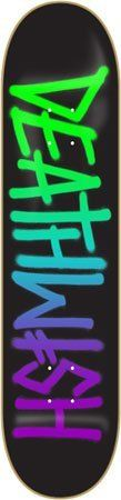 """Deathwish Deathspray Green / Blue / Purple Skateboard Deck - 8.38"""" x 32"""" by Deathwish. $50.95. This Deathwish skateboard deck is made from premium material for maximum durability and ultimate pop."""