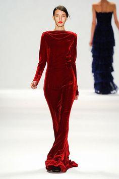 Like walking in liquid - Tadashi Shoji's vermillion velvet