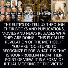 Revelation of the Method...Ritual mocking of the victim...we...the wage slaves being the victims ...if we pay attention can watch them flaunt the next asskicking they will put down on us...they love to show their upcoming evil in movies..the movie minority report comes to mind...