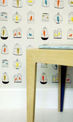 Birdcages Wallpaper| Kidsen.co.uk