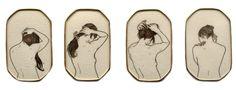 Melanie Bilenker. Brooch: Pinning, 2013. Hair, paper, gold, mineral crystal. each piece 3 x 0.7 x 4.7 cm. From series: Pinning.