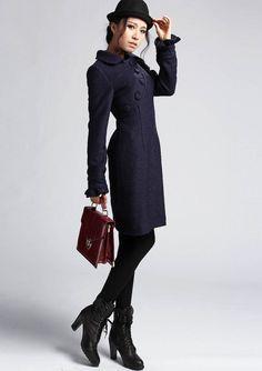 Blue wool dress 420 by xiaolizi on Etsy, $88.00