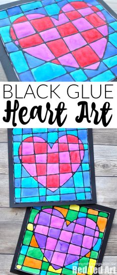 This beautiful black glue Valentine's Day art project is absolutely gorgeous and is a simple way to explore cubism art with children. The mixture of black glue outlines mixed with bright watercolors always creates a frame worthy Valentine's Day art project. #valentinesday #artproject #artprojectsforkids #iheartcraftythings #kidscrafts #artsandcrafts