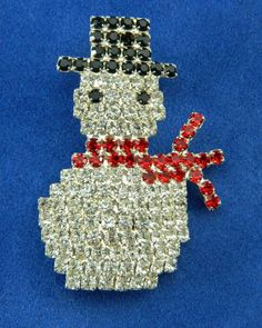 Rhinestone Snowman Pin Signed OTC Sparkly by QueeniesCollectibles, $9.99