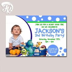 Monster University Birthday Card Party Digital Invitation With Photo Kid…