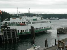 Inter-islandf ferry arriving at Orcas Landing.  This ferry operates between the 4 largest of the islands of the San Juan Islands.  Friday Harbor, Orcas Landing, Lopez and Shaw.  Larger ferry from Anacortes can be seen in the background.   Photo by Liz Illg