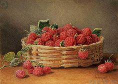 William B. Hough - A Still Life of Raspberries in a Wicker Basket