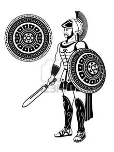 Illustration about Roman warrior with sword and decorated shield. Illustration of museum, illustration, armored - 19869563 Soldier Silhouette, Roman Warriors, Spartan Warrior, Roman Soldiers, Flyer Design, Medieval, Stock Photos, Illustration, Roman Sword