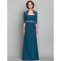 Sheath/Column Strapless Floor-length Beading Chiffon Mother of the Bride Dress – USD $ 179.99