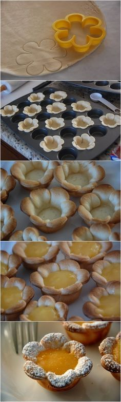 Flower shaped Mini Lemon Curd Tarts ~ Focuseat (I originally saw the recipe on www.the350degreeoven.com but the link to Pinterest wouldn't work... Used canned lemon filling-scrumptious. Canned apple filling, chopped & heated also was a big hit. Nice little treats!