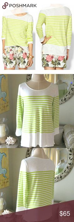 NWT Joie Citrine Striped Top / Light Sweater. S New with tags with no defects.  Style name: Abina. Manufacturer color: porcelain - citrine. Could be classified as a thicker knot top or a lightweight sweater. 100% cotton.  Stripes are a citrine yellowish green color.   Offers accepted. Joie Tops Tees - Long Sleeve