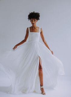 Vivica wedding Gown by Leanne Marshall, handmade silk wedding dress, square neck wedding gown, wedding dress with slit, a-line wedding gown, nontraditional wedding, nontraditional bride, newly engaged