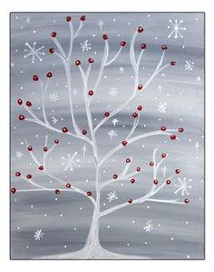 Quelle belle toile à faire lors du thème de l'hiver.