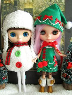 Blythe Christmas Tree Green Pine Elf Gnome Outfit  