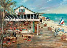 Boardwalk Cafe Beach Jigsaw Puzzle
