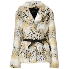 RACHEL ZOE Tonal Cream Cheetah Faux Fur Macgraw Jacket (18.280 RUB) ❤ liked on Polyvore featuring outerwear, jackets, coats, fur, casacos, shawl collar jacket, faux-leather jackets, brown faux fur jacket, cheetah jacket and rachel zoe jacket