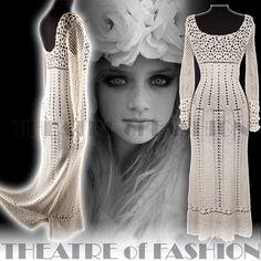 Vintage Crochet Dress Wedding 60s 70s French Boho Hippie 30s Vamp Goddess Sexy   eBay