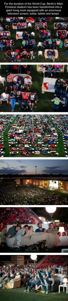 Germany During The World Cup. Stadium turned into couches and big screen.  - seriously?! Is this real?