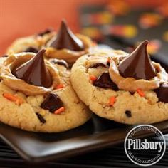 Funfetti® Halloween Peanut Butter and Chocolate Cookies from Pillsbury® Baking