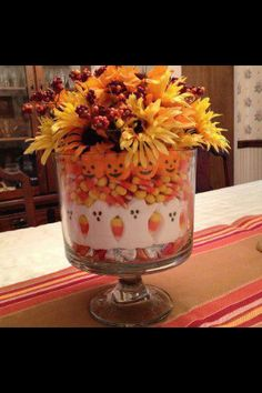 Halloween Centerpiece in Pampered Chef Trifle bowl. Www.pamperedchef.biz/cookinwithchristyc  Www.facebook.com/pcwithchristycorder