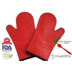 Silicone Mitts 1 Pair in Red Ultra Flex and Soft for Oven Cooking, Kitchen Baking, BBQ Grill Heat, Cold, Water, Oil and Steam Resistant Bundle Includes Silicone Brush