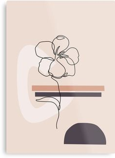 Line art flower Metal Print