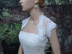 White sleeveless bridal lace bolero jacket  keyhole by alexbridal, $69.99