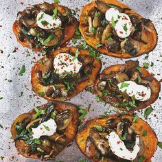 """1,811 Likes, 224 Comments - Teri Turner (@nocrumbsleft) on Instagram: """"Finished Product! Mushrooms and Ramps atop a sweet potato crostini with a dollop of cashew cream.…"""""""