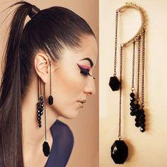 Black Gemstone Beads Ear Cuffs,cool statement jewelry to add into your night party looks! Cuff Earrings, Crystal Earrings, Clip On Earrings, Women's Earrings, Hanging Earrings, Diy Earrings Non Pierced, Earings Gold, Feather Earrings, Ear Cuffs