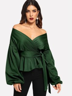 online shopping for SheIn Women's Long Sleeve V Neck Ruffle Blouse Off Shoulder Tie Waist Wrap Tops from top store. See new offer for SheIn Women's Long Sleeve V Neck Ruffle Blouse Off Shoulder Tie Waist Wrap Tops Peplum Blouse, Ruffle Blouse, Dress Lace, Dress Shoes, Shoes Heels, Rock Chic, Mode Hijab, Off Shoulder Tops, Off Shoulder Blouse