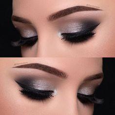 Eye Makeup Silver Smokey Eyeshadow Tutorials Ideas For 2019 Denitslava Makeup, Eye Makeup Glitter, Makeup Eye Looks, Simple Eye Makeup, Smokey Eye Makeup, Makeup Inspo, Eyeshadow Makeup, Bridal Makeup, Wedding Makeup