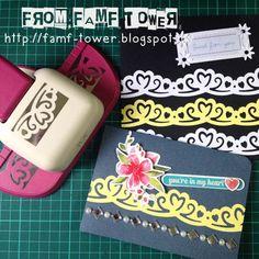 Handmade greeting card. DIY card using deep border punch.