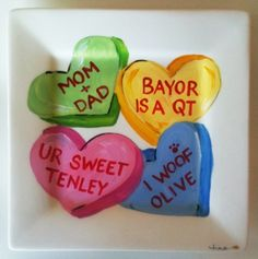 Candy heart  family plate