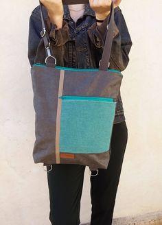 Convertible backpack - Shoulder bag - Vegan backpack - laptop backpack - Gift for her Macbook Pro 13, Macbook Air, Convertible Backpack, Color Plata, Waxed Canvas, Laptop Backpack, Messenger Bag, Gifts For Her, Satchel