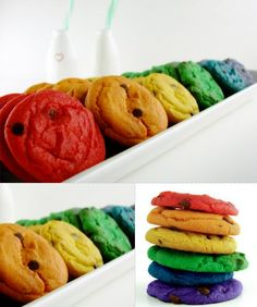 Rainbow Cookies  Use your favorite chocolate chip cookie recipe, and a little gel food coloring,