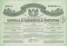 SOCIETA' ANONIMA PER LA VENDITA DEI BENI DEL REGNO D'ITALIA - #scripomarket #scriposigns #scripofilia #scripophily #finanza #finance #collezionismo #collectibles #arte #art #scripoart #scripoarte #borsa #stock #azioni #bonds #obbligazioni