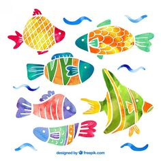 Collection of fish in watercolor effect Free Vector Watercolor Fish, Watercolor Images, Watercolor Effects, Watercolor Animals, Watercolor Paintings, Fish Illustration, Watercolor Illustration, Cartoon Fish, Fish Vector