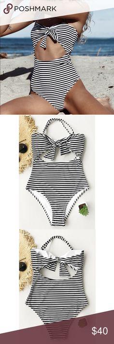 0d170fa24b31e 'Pinstripe Perfection' Swim One Piece Monokini - Striped monokini - Halter  design - Removable strap - Black & White Stripe - Tie in Front Tags: Bikini  swim ...