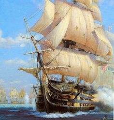 Geoff Hunt is one of the five-star artists of age of sail subjects, in this case HMS Victory Bateau Pirate, Old Sailing Ships, Hms Victory, Ship Of The Line, Man Of War, Ship Paintings, Wooden Ship, Navy Ships, Ship Art