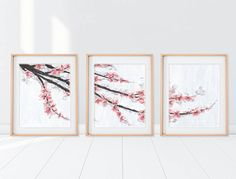 Cherry Blossom Art Panel Art Cherry Blossom Painting Pink